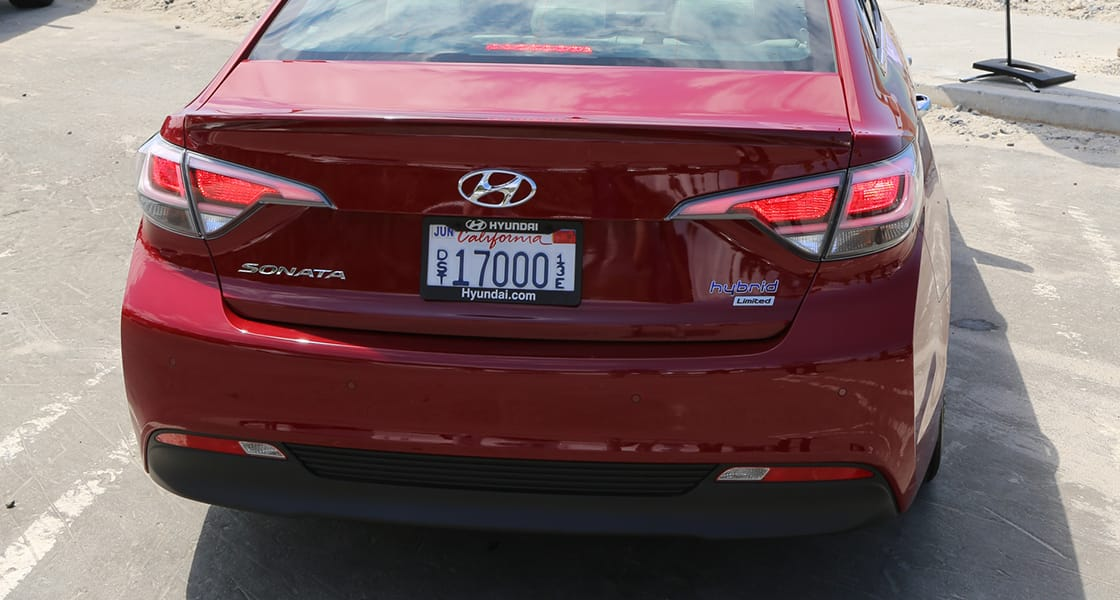 Rear view of red Sonata Plug-in Hybrid