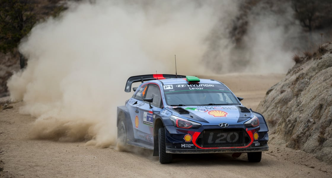 i20 WRC is driving on the gravel road
