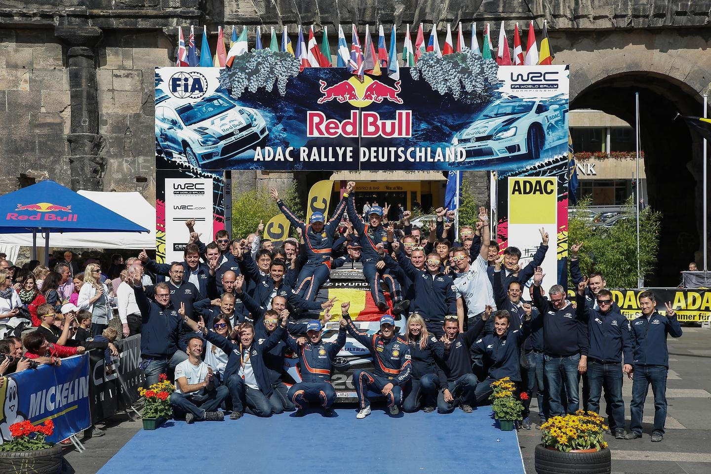 Hyundai Shell World Rally Team celebrate historic first and second place at home in Rallye Deutschland