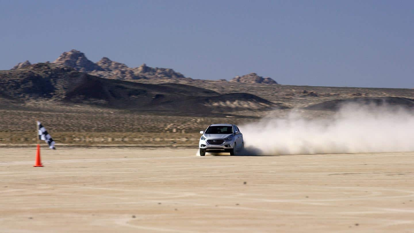 Hyundai Motor's Tucson Fuel Cell Sets Land Speed Record for Production Fuel Cell SUV in the California Desert